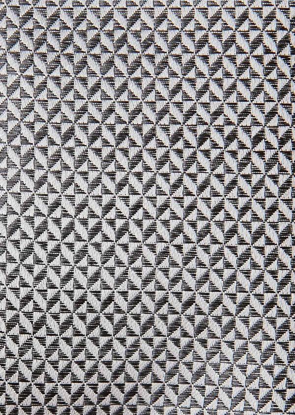 Coffret noeud-papillon et pochette à motif fantaisie gris et blanc - Father and Sons 27314