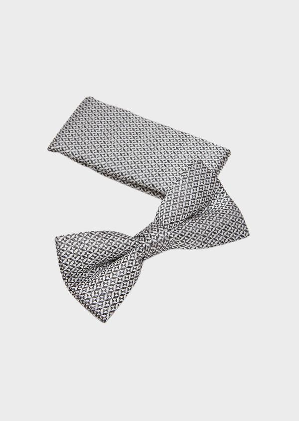 Coffret noeud-papillon et pochette à motif fantaisie gris et blanc - Father and Sons 27313
