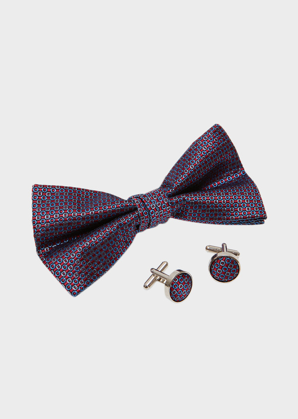 Coffret noeud-papillon et boutons de manchettes à motif fantaisie rouge - Father and Sons 27321