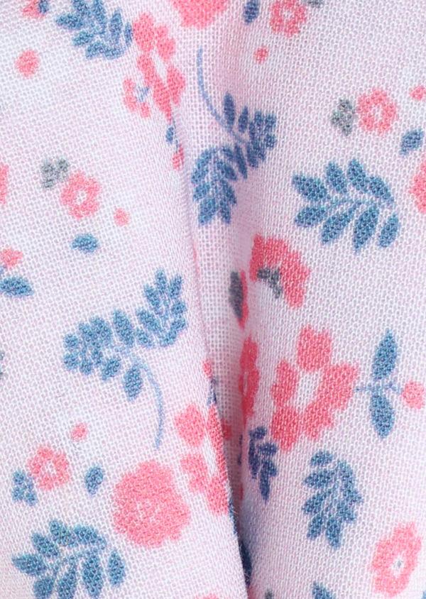 Coffret noeud-papillon et boutons de manchettes rose à motif fleuri bleu - Father and Sons 32615