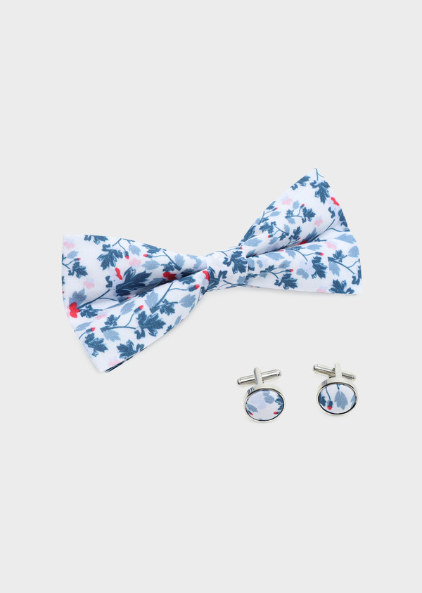 Coffret noeud-papillon et boutons de manchettes blancs à motif fleuri bleu et rose fuchsia - Father and Sons 32618