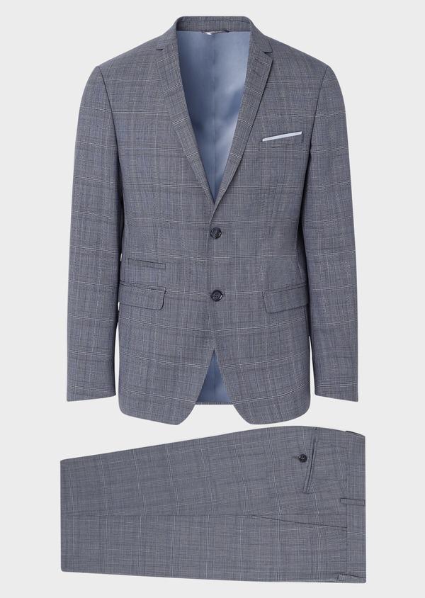 Costume 2 pièces Regular en laine bleu gris Prince de Galles - Father and Sons 32669