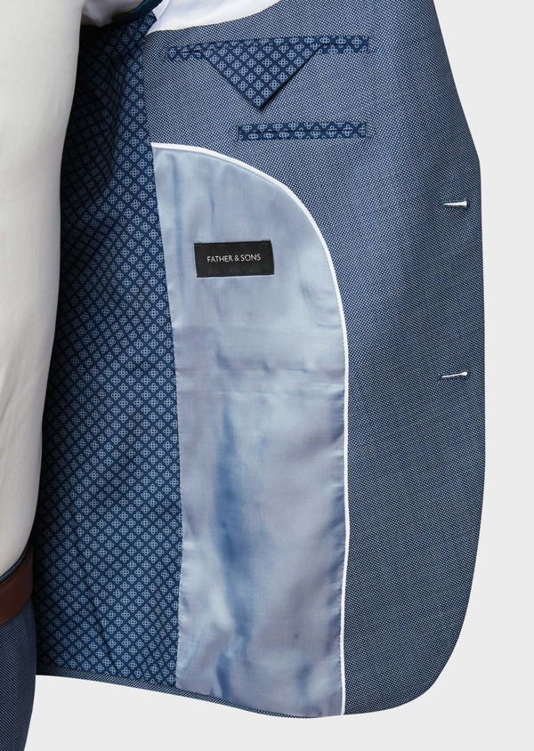 Costume 2 pièces Regular en laine unie bleu chambray - Father and Sons 32731
