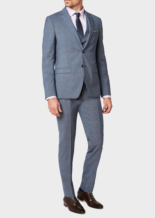 Costume 2 pièces Slim en laine bleu chambray Prince de Galles - Father and Sons 32734