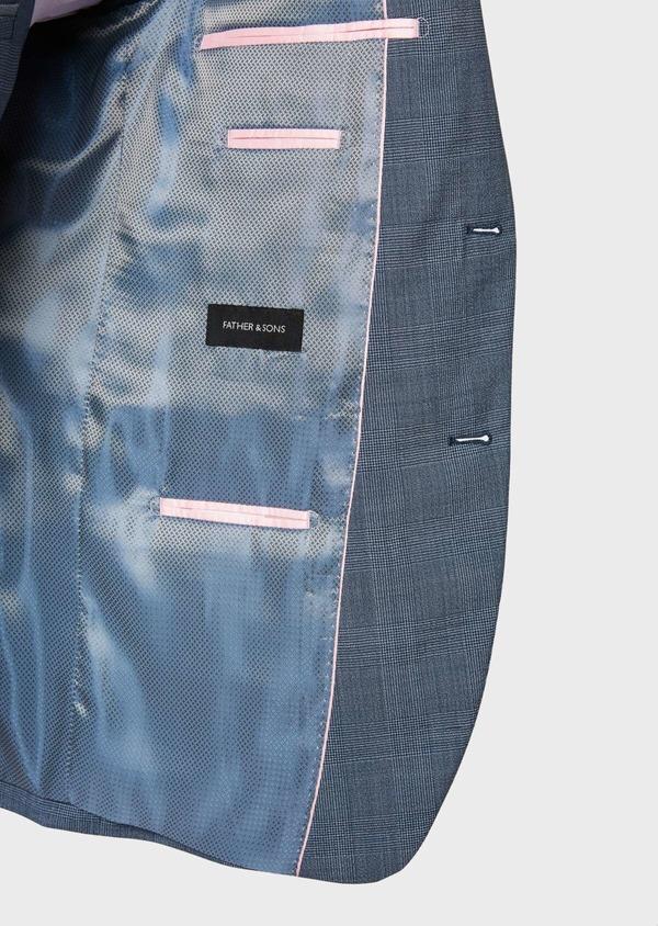 Costume 2 pièces Slim en laine bleu chambray Prince de Galles - Father and Sons 32738