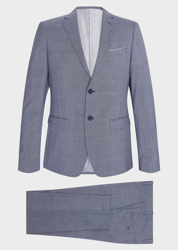 Costume 2 pièces Slim en laine bleu chambray Prince de Galles - Father and Sons 32732