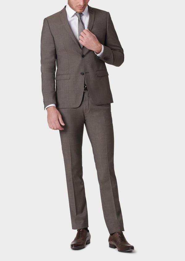 Costume 2 pièces Slim en laine marron Prince de Galles - Father and Sons 34142