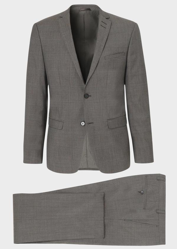 Costume 2 pièces Slim en laine marron Prince de Galles - Father and Sons 34140