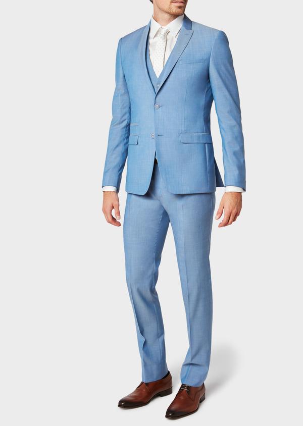Costume 2 pièces Slim en laine unie bleu azur - Father and Sons 32771