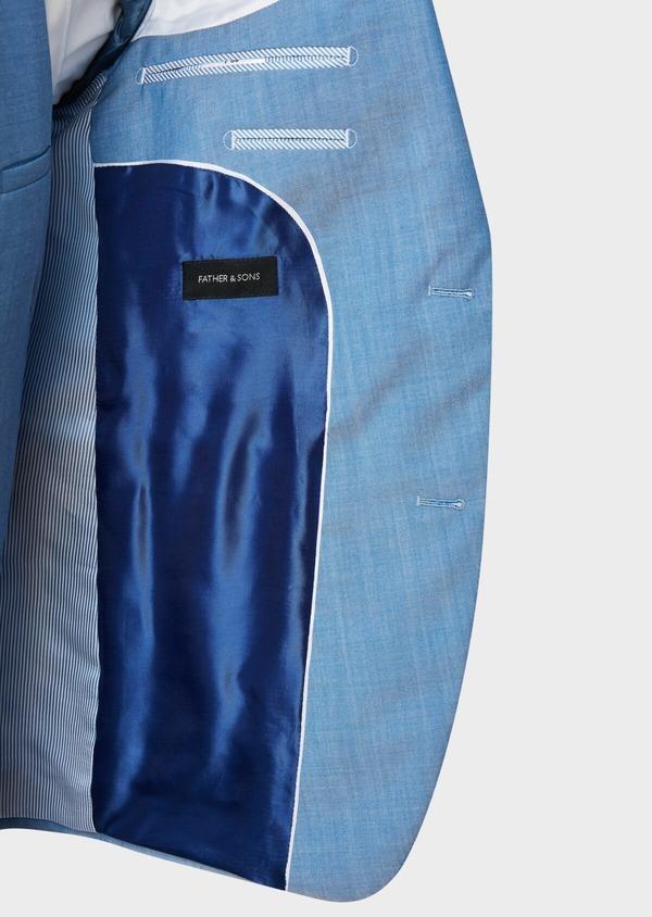 Costume 2 pièces Slim en laine unie bleu azur - Father and Sons 32775