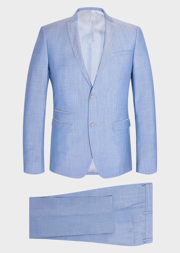 Costume 2 pièces Slim en laine unie bleu azur - Father and Sons 32769