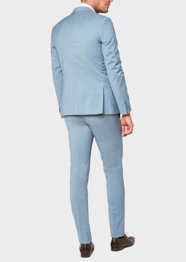Costume 2 pièces Slim en laine unie bleu gris - Father and Sons 32665