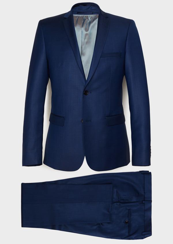 Costume 2 pièces Slim en laine unie bleu indigo - Father and Sons 32792