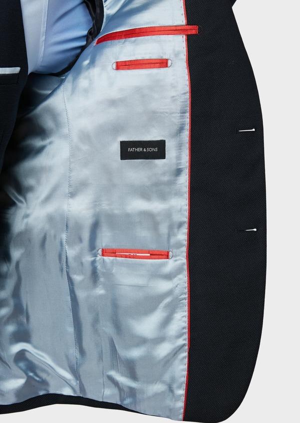 Costume 2 pièces Slim en laine mélangée unie bleu marine - Father and Sons 32661
