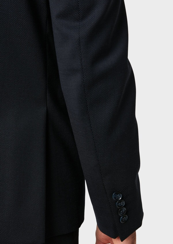 Costume 2 pièces Slim en laine mélangée unie bleu marine - Father and Sons 32660