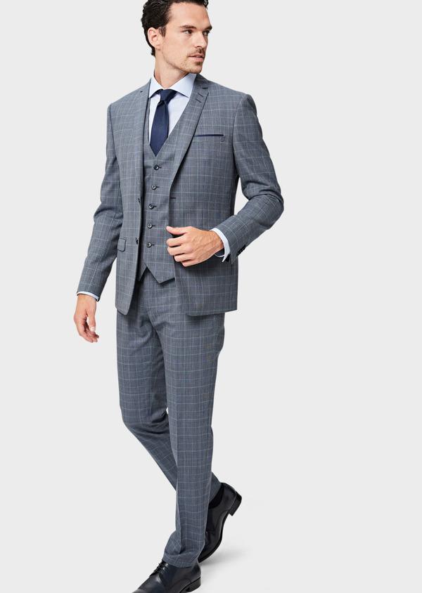 Costume 2 pièces Slim en laine bleu indigo Prince de Galles - Father and Sons 40948