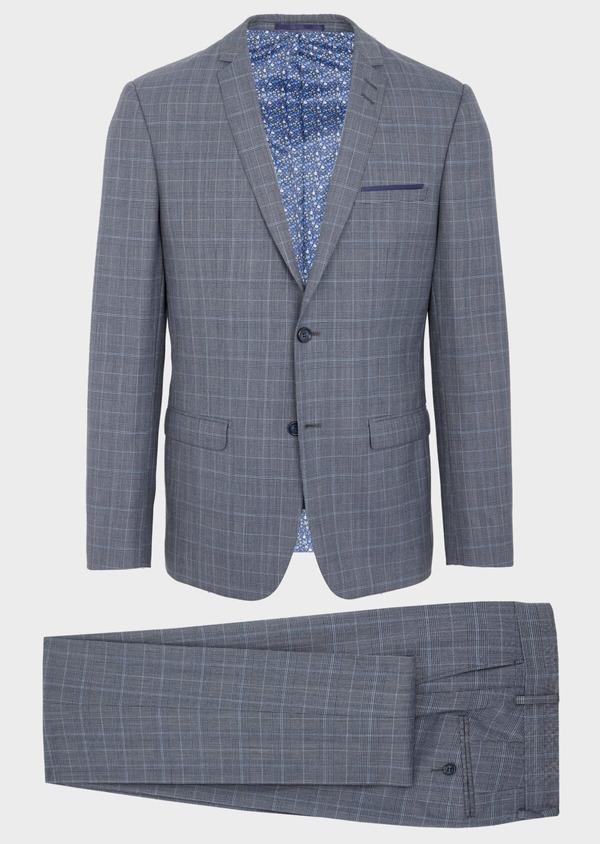 Costume 2 pièces Slim en laine bleu indigo Prince de Galles - Father and Sons 40947