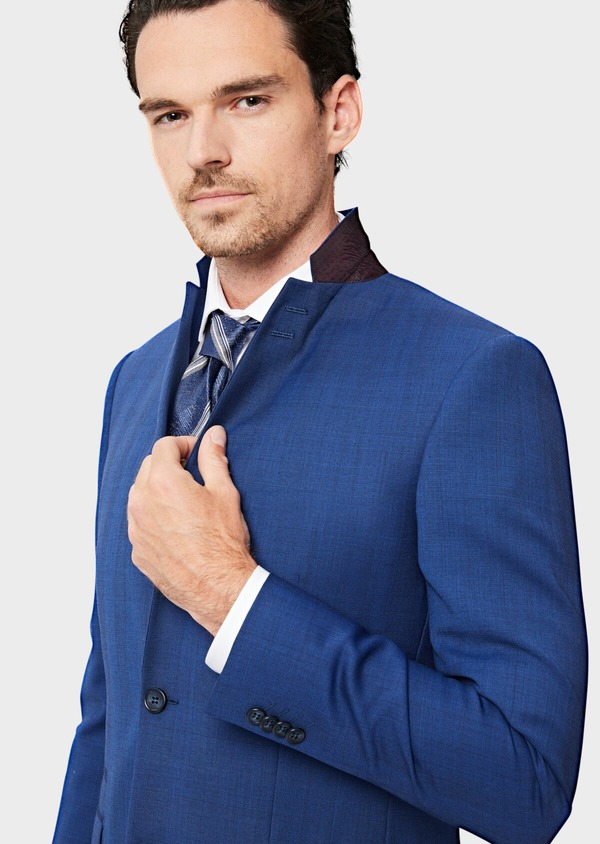 Costume 2 pièces Slim en laine bleue Prince de Galles - Father and Sons 40963