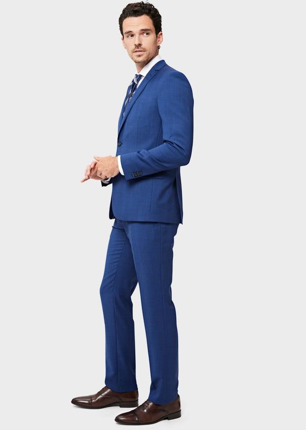 Costume 2 pièces Slim en laine bleue Prince de Galles - Father and Sons 40961