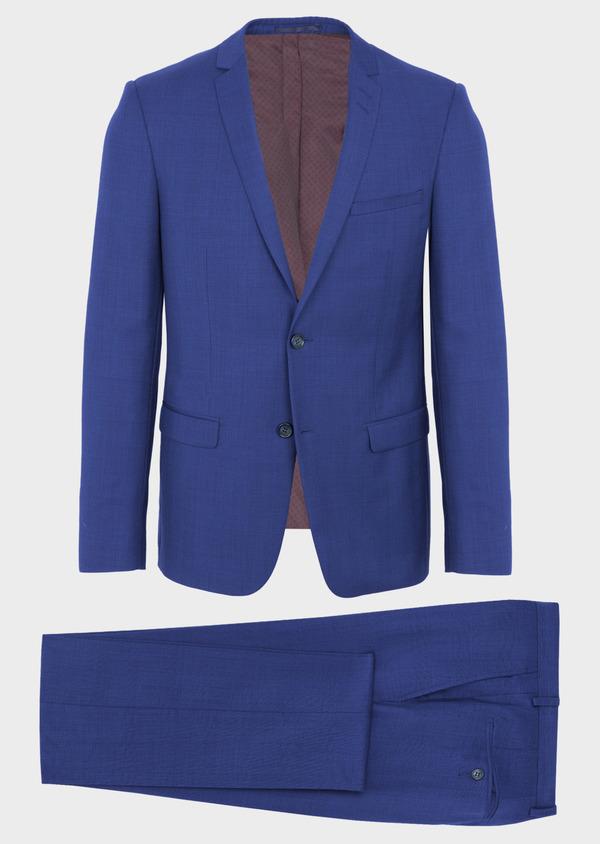 Costume 2 pièces Slim en laine bleue Prince de Galles - Father and Sons 40960
