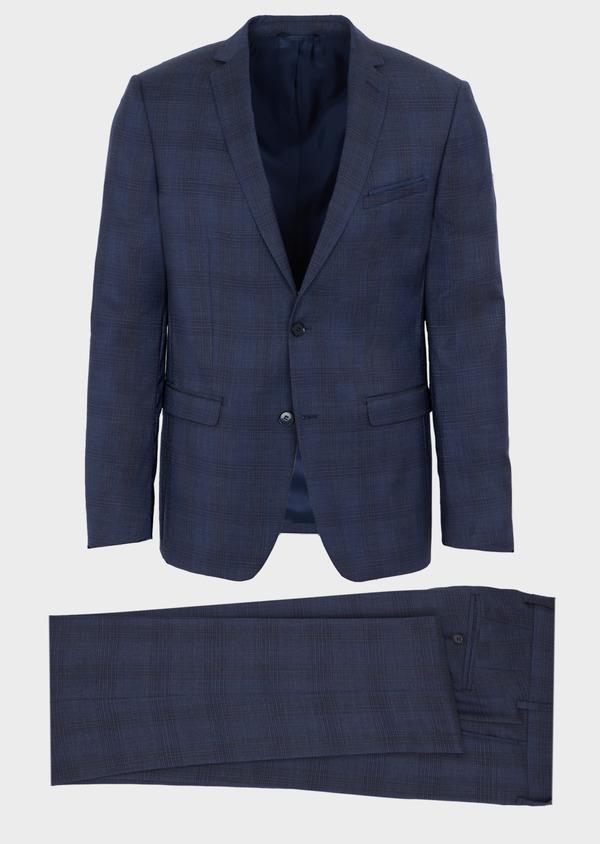 Costume 2 pièces Slim en laine bleue Prince de Galles - Father and Sons 40967