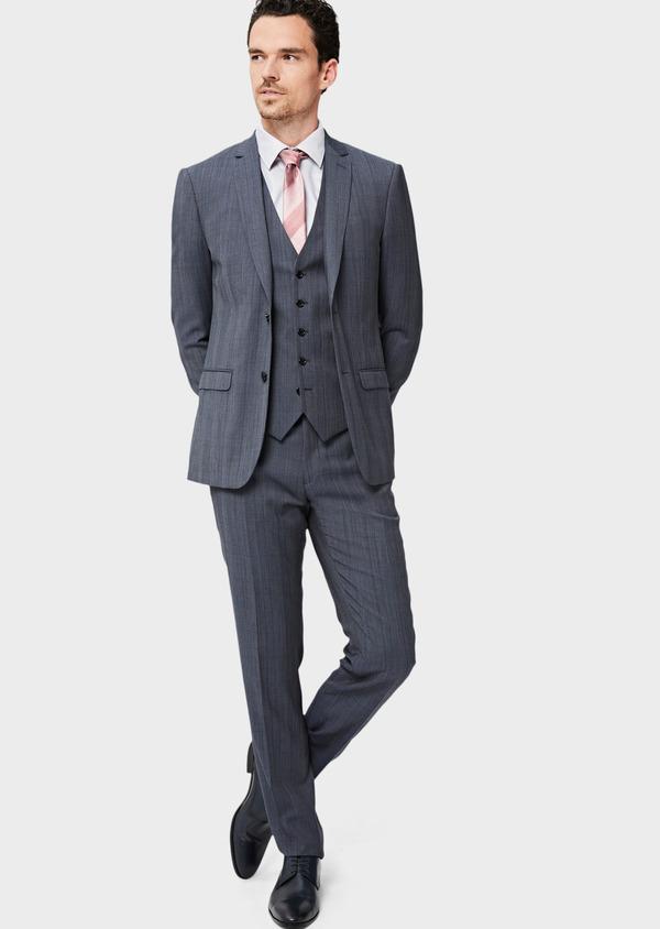 Costume 2 pièces Slim en laine bleu chambray Prince de Galles - Father and Sons 40989