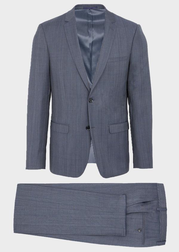 Costume 2 pièces Slim en laine bleu chambray Prince de Galles - Father and Sons 40988