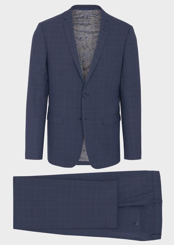 Costume 2 pièces Regular en laine bleu marine Prince de Galles - Father and Sons 41668