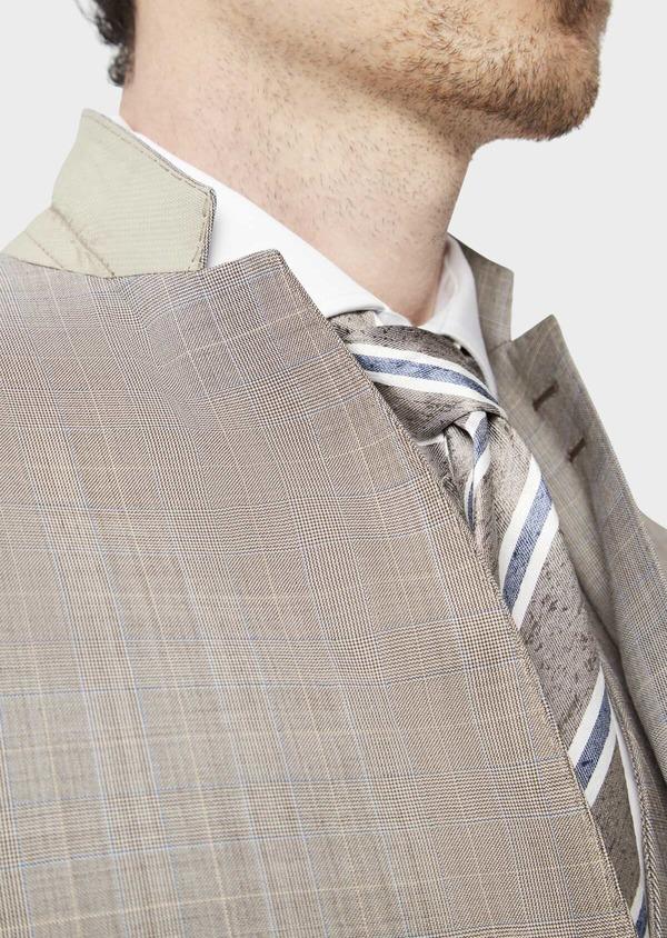 Costume 2 pièces Regular en laine stretch naturelle beige Prince de Galles - Father and Sons 37571