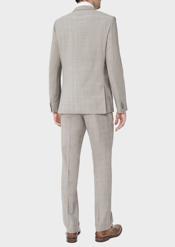 Costume 2 pièces Regular en laine stretch naturelle beige Prince de Galles - Father and Sons 37570