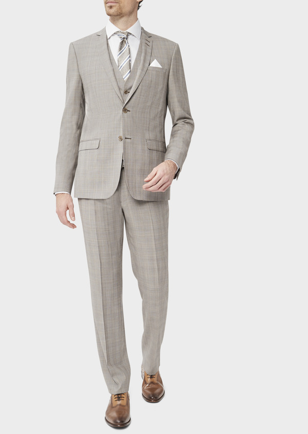 Costume 2 pièces Regular en laine stretch naturelle beige Prince de Galles - Father and Sons 37569