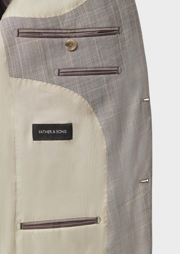 Costume 2 pièces Regular en laine stretch naturelle beige Prince de Galles - Father and Sons 37573