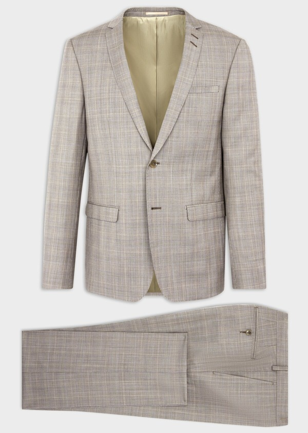 Costume 2 pièces Regular en laine stretch naturelle beige Prince de Galles - Father and Sons 37567