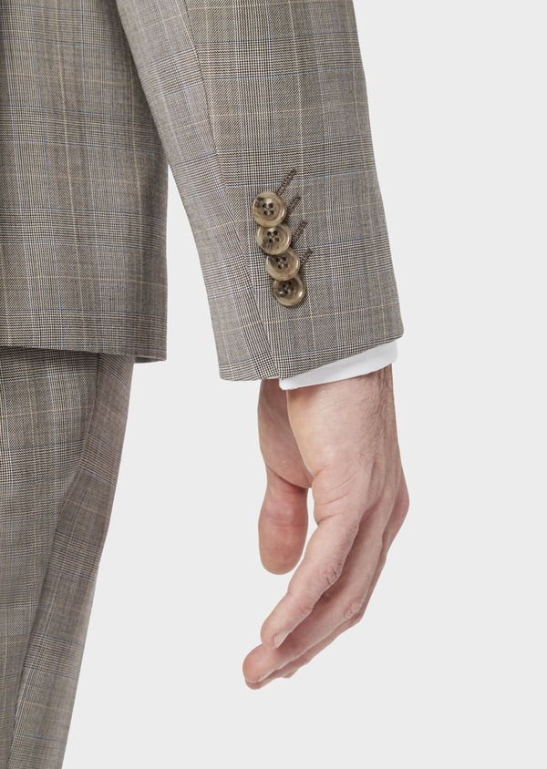 Costume 2 pièces Regular en laine stretch naturelle beige Prince de Galles - Father and Sons 37572