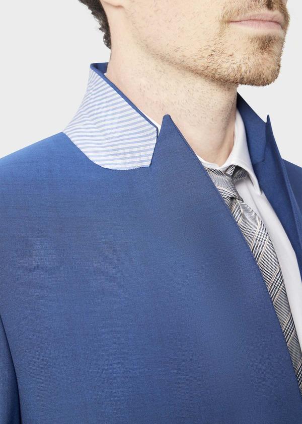 Costume 2 pièces Regular en laine stretch naturelle unie bleue - Father and Sons 40585
