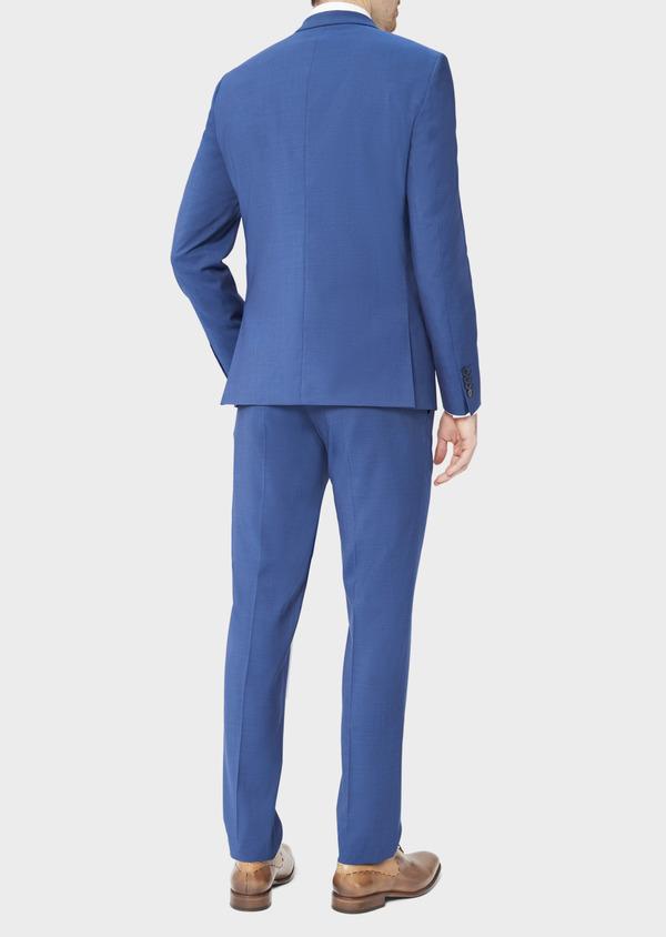 Costume 2 pièces Regular en laine stretch naturelle unie bleue - Father and Sons 40584