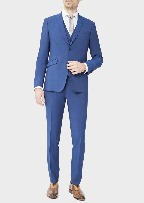 Costume 2 pièces Regular en laine stretch naturelle unie bleue - Father and Sons 40583