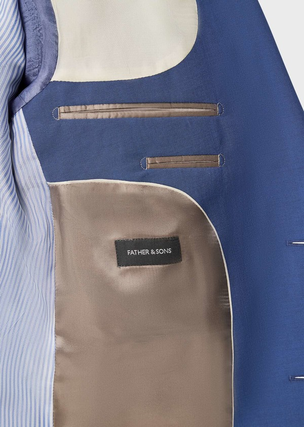 Costume 2 pièces Regular en laine stretch naturelle unie bleue - Father and Sons 40587