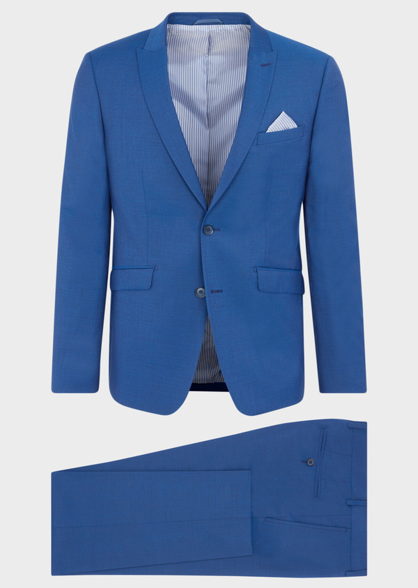 Costume 2 pièces Regular en laine stretch naturelle unie bleue - Father and Sons 40581