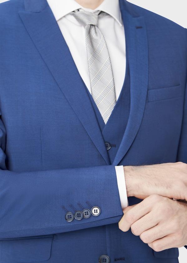 Costume 2 pièces Regular en laine stretch naturelle unie bleue - Father and Sons 40586