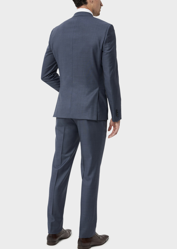 Costume 2 pièces Regular en laine stretch naturelle unie bleu chambray - Father and Sons 35040