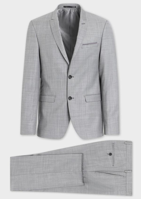 Costume 2 pièces Regular en laine mélangée unie gris clair - Father and Sons 37410