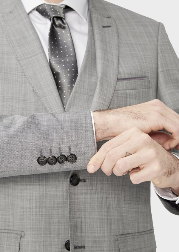 Costume 2 pièces Regular en laine mélangée unie gris clair - Father and Sons 37415