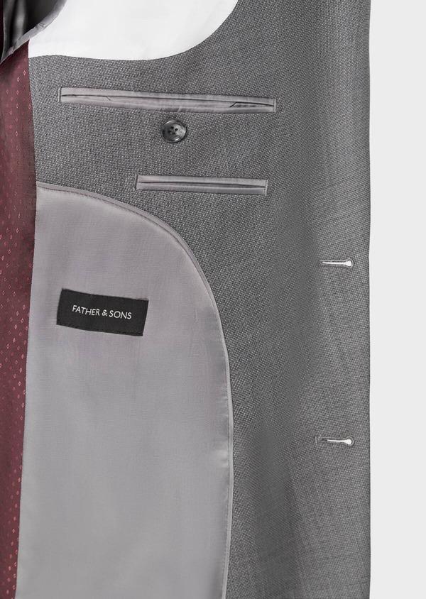 Costume 2 pièces Regular en laine stretch naturelle unie grise - Father and Sons 37545