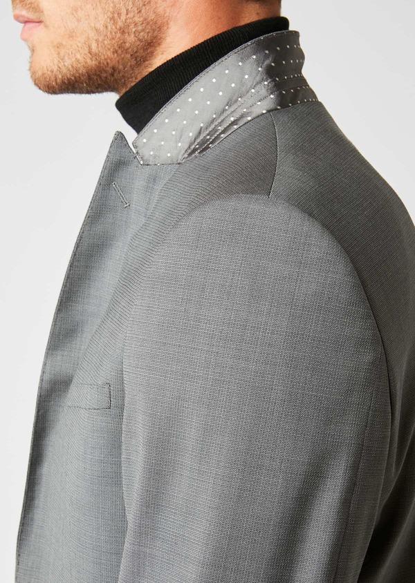 Costume 2 pièces Regular en laine façonnée unie gris clair - Father and Sons 37358