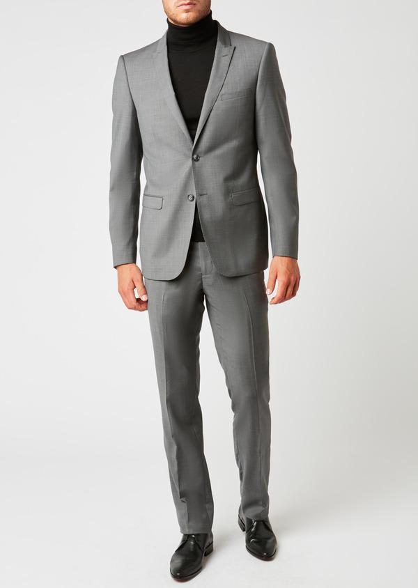 Costume 2 pièces Regular en laine façonnée unie gris clair - Father and Sons 37359