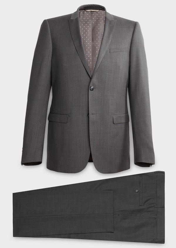 Costume 2 pièces Regular en laine façonnée unie gris clair - Father and Sons 37360
