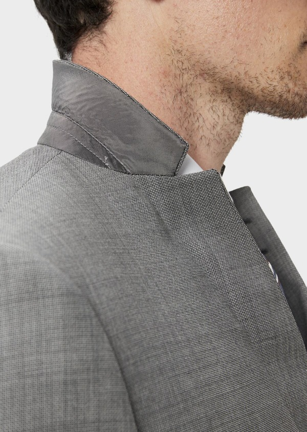 Costume 2 pièces Regular en laine stretch naturelle unie grise - Father and Sons 35099