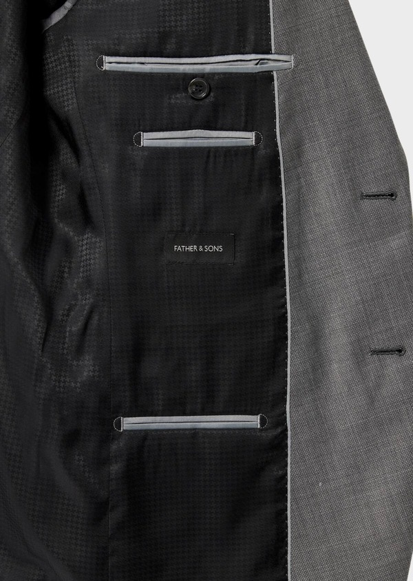 Costume 2 pièces Regular en laine stretch naturelle unie grise - Father and Sons 35101