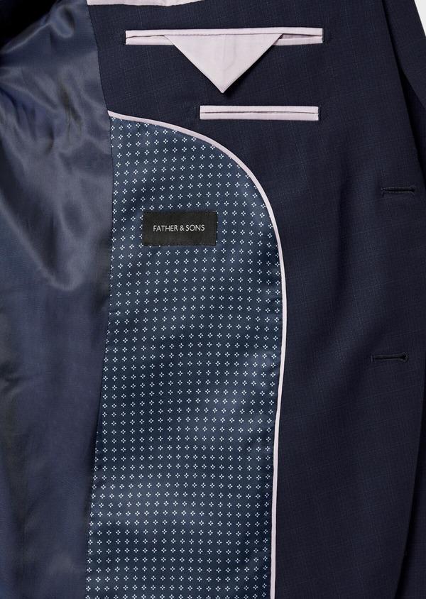 Costume 2 pièces Regular en laine stretch naturelle unie bleu indigo - Father and Sons 35066